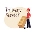 courier delivery service worker hand cart dolly vector image vector image