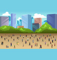 crowd of people in a park in the city vector image vector image