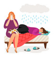 cute depressed girls and rain vector image vector image