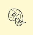 elephant head logo design line art elephant vector image vector image