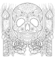 entangle stylized skull with candles roses ears vector image