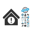 Exclamation Building Flat Icon with Bonus vector image vector image
