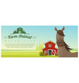 farm animal and rural landscape with horse vector image vector image