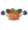 fitness fruit basket character cartoon vector image