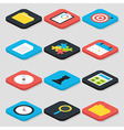 Flat Business Isometric Icons Set vector image vector image