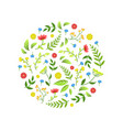 floral seamless pattern round shape with green vector image