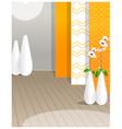 Flower vase against wallpaper vector image vector image