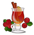 glass transparent glass with cranberry drink vector image vector image