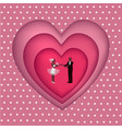 groom bride and heart in cut paper isolated on vector image