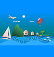 hello summer travel in paper cut style sea vector image vector image