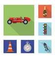isolated object car and rally icon collection vector image