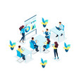 isometric concept for office staff training vector image