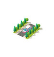 isometric left view ambulance vector image vector image