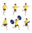 isometric male athlete during training in the gym vector image vector image