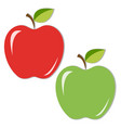juicy red and green apples with leaves vector image