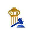 law justice firm gavel pillar logo design icon vector image