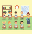 lesson in elementary school kids and teacher vector image vector image