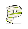 Letter P Mummy Typography icon in bandages vector image vector image