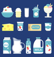 milk products cream yogurt and vector image vector image