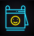neon calendar with smile sign glowing reminder vector image vector image