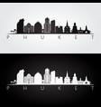 phuket skyline and landmarks silhouette vector image vector image