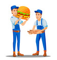pizza fast food delivery man in uniform and pizza vector image vector image