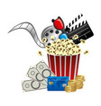 pop corn clipart movie and money icon vector image vector image