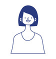 portrait young woman character isolated icon vector image vector image