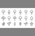 set black and white tree and plant icons vector image vector image