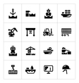 set icons seaport vector image vector image