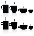 set of coffee and tea cup black silhouette vector image