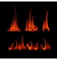 Set of Different Red Scarlet Fire Flame Bonfire