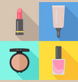 set of four makeup items in flat style vector image