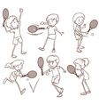 Sketches of people playing tennis vector image