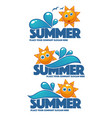 summer time collection of water and sun stickers vector image vector image