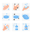 surgical mask hands bottle antiseptic icons vector image