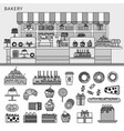 sweet confectionery in bakery line monochrome vector image vector image