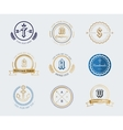 Vintage old style shield logo icon template set vector image vector image