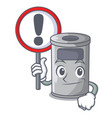 with sign steel trash can with lid cartoon vector image