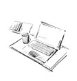 workplace with laptop notebook tablet and cup of vector image