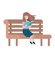 young student girl sitting reading book vector image