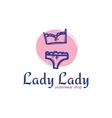 cute woman underwear logo in doodle sketchy vector image