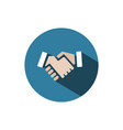 handshake icon with shadow on a blue circle vector image