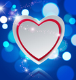 Paper Heart on Lights Bokeh Blue Background vector image