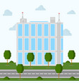 a glazed office building with a landscape around vector image vector image