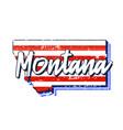 american flag in montana state map grunge style vector image vector image