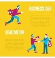 Business idea banner Exchange idea to money vector image vector image