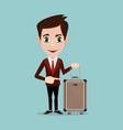 businessman holding modern suitcase with wheels vector image vector image