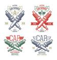 Car service spark plug emblems vector image
