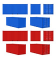 cargo container blue red cargo containers front vector image
